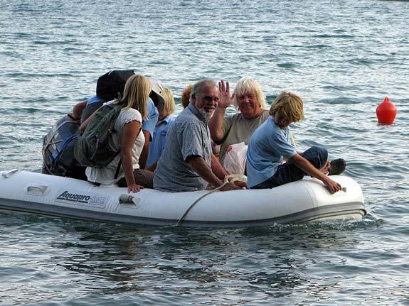 How many in that dinghy? Cowrie, Eve, Impulse and Chagazee make their entrance...